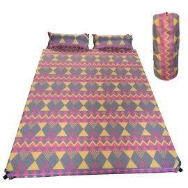 睡墊 DJ-7619 波西米亞雙人自動充氣墊附2個自動充氣枕【安安大賣場】戶外休閒-登山