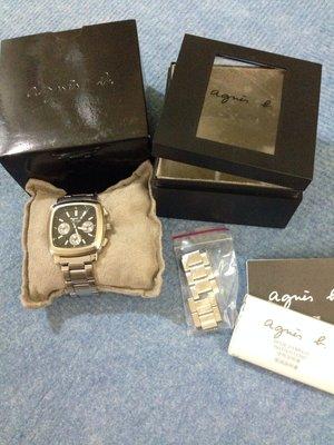 Agnès b  方型 大錶 中性錶 3眼手錶