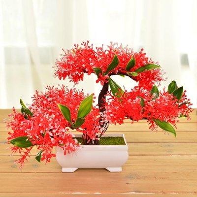 客廳塑料仿真假花套裝小盆栽擺設室內酒櫃辦公室桌面飾品擺件YTL