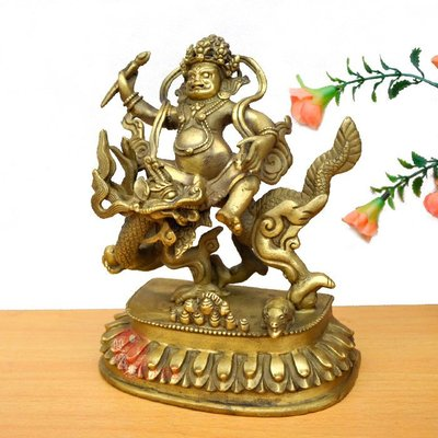 純銅佛像宗教工藝品密宗白財神銅像藏傳財神爺寶藏王 雙福359