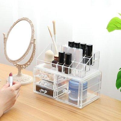 化妝品整理盒化妝架塑料透明口紅雙層抽屜式梳妝置物架桌面收納盒【藍色彼岸】