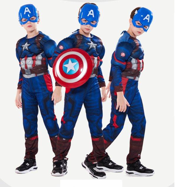 乂世界派對乂 萬聖節服裝,萬聖節裝扮,兒童變裝服-萬聖節服裝-美國隊長服裝/肌肉連身服