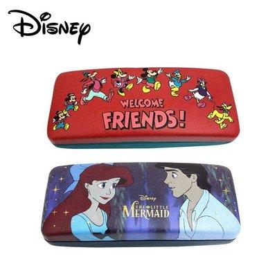 迪士尼 皮革 硬殼 眼鏡盒 附拭鏡布 Disney 米奇 米妮 小美人魚 艾瑞克 日本正版 221763 221770