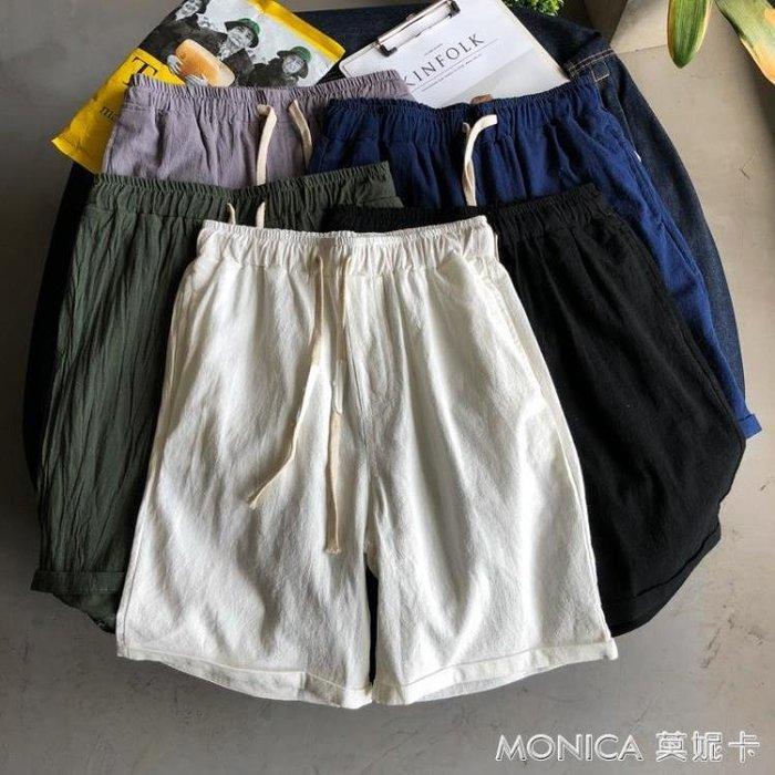 短褲男士五分褲休閒褲運動褲鬆緊寬鬆沙灘褲韓版潮流亞麻褲子