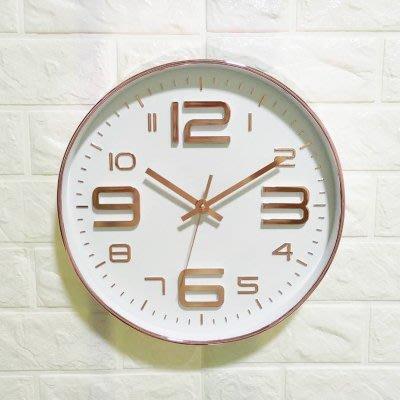 尼克卡樂斯~經典玫瑰金大數字掛鐘 圓形靜音時鐘 酒吧掛鐘 餐廳掛鐘 咖啡廳時鐘 客廳臥室掛鐘 工業風掛鐘