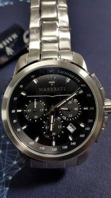 【成吉思汗精品】 MASERATI 瑪莎拉蒂手錶 R8873621002 黑三眼石英日期藍寶石鏡面鋼帶*