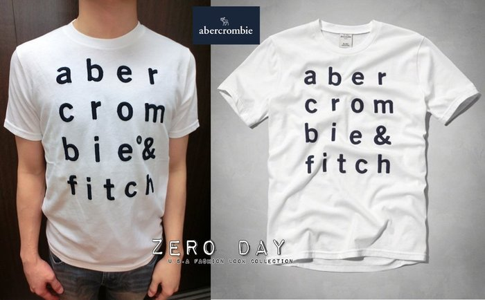 a&f abercrombie&fitch kids guys boy logo graphic tee刺繡字母T-白色