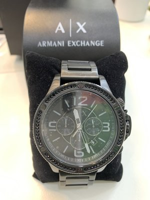 A/X Armani Exchange 速霸晶鑽計時鋼帶錶-IP 黑 48mm AX1520