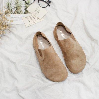 柒柒KR 正韓單鞋女平底大頭娃娃鞋復古原宿懶人一腳蹬踩跟兩穿鞋森女真皮女鞋