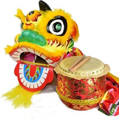 【8寸獅鼓兩件套-8寸獅頭帶被+8寸鼓-1款/組】適用4-12歲兒童舞獅醒獅表演整套道具-3001002