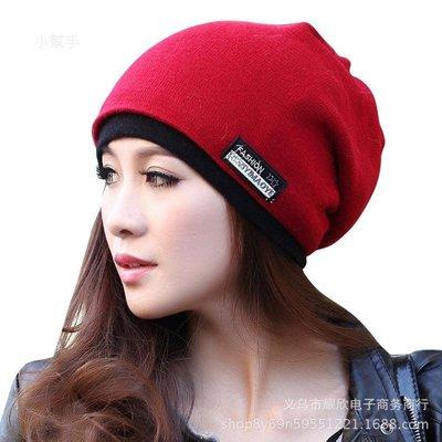 女帽子純色布貼保暖護耳套頭帽兩用月子帽包頭帽堆堆帽/優品小舖/