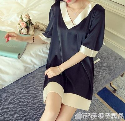 哆啦本鋪 維密睡衣女短袖韓國寬鬆襯衫學生 夏季冰絲綢輕熟V領睡裙中裙薄款  D655