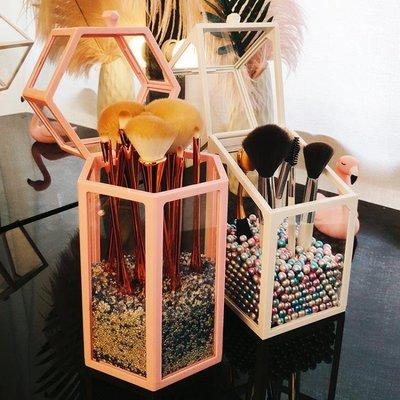 網紅化妝刷收納桶透明玻璃防塵筆刷筒桌面梳妝台彩妝刷收納盒帶蓋 雙十鉅惠