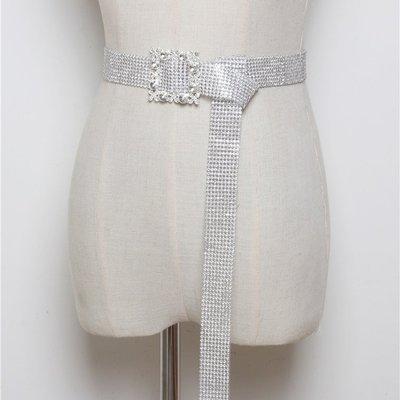 腰帶 塑膠 腰封-PVC鑲嵌水鑽扣頭女配件3色73vh43[獨家進口][米蘭精品]