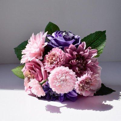 大麗花雛菊玫瑰仿真花束花瓶花藝客廳餐桌...