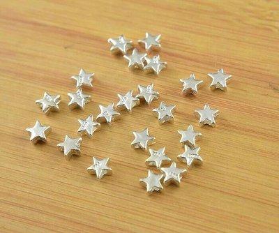 嗨,寶貝銀飾珠寶* 925純銀飾 DIY串珠配件☆立體五角星星隔珠 串珠掛件 手鍊 戒指 配件