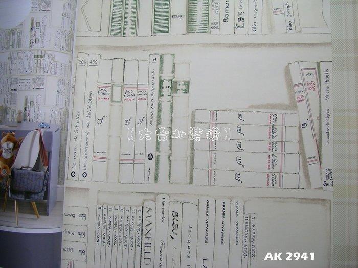 【大台北裝潢】AK進口平滑面純紙壁紙* 手繪仿書櫃牆(5色) 每支1800元
