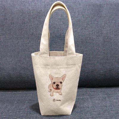 《法鬥-坐著》文創柴犬 台灣製棉麻布 吸水 環保飲料杯套 提袋 環保袋 飲料袋 環保杯袋  / 蒼蠅星球 / 手創市集