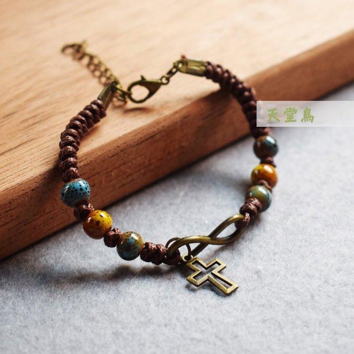 十字架陶瓷手鏈手環-5~手工編織陶瓷手環 主内福音團契聖誕禮品抽繩飾品 基督教