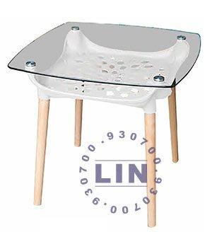 【品特優家具倉儲】R9701-05餐桌造型玻璃實木方桌132-1