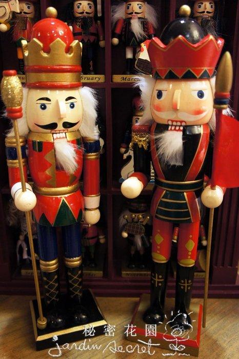 歐洲童話木製胡桃鉗人偶/士兵--高38cm-秘密花園