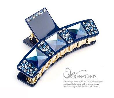 BHI274-法國品牌RenaChris 施華洛世奇晶鑽漂亮方鑽鯊魚夾 抓夾-附原裝包裝盒