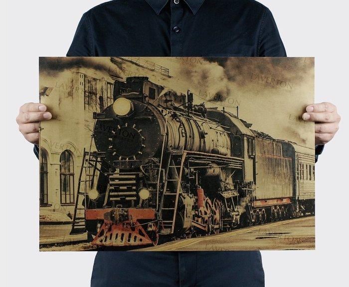 【貼貼屋】老式蒸氣火車 鐵道迷 普悠瑪 自強號 復興號 復古海報 牛皮紙海報 店面裝飾 壁貼1085