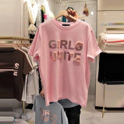 ❤Princess x Shop❤燙金短袖T恤寬鬆純棉DL1904066正韓國連線吊帶褲蕾絲一字領露肩