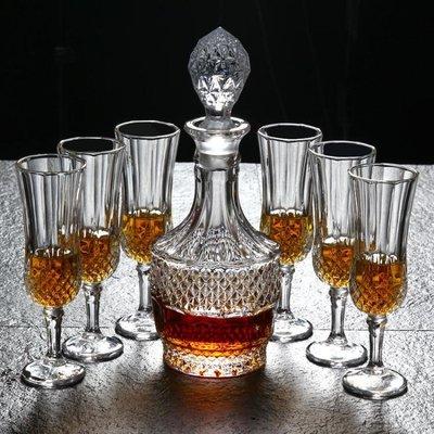 進口無鉛水晶高腳葡萄酒杯洋酒杯香檳杯玻璃紅酒杯醒酒器套裝酒具yi   全館免運