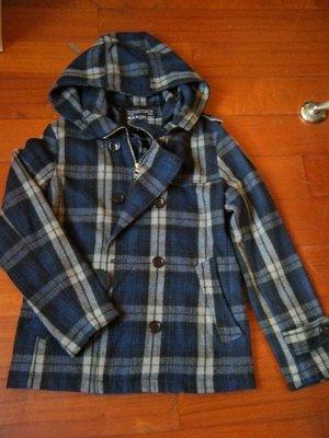 RockSteady  藍色格子毛料大衣 / 雙排扣外套 【 size: S 】