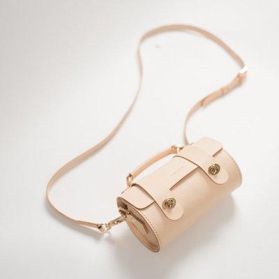 NYCT 韓國高品質限定原創 歐美熱賣頂級百搭時尚手工復古小挎包頭層牛皮單肩包原色植鞣皮斜挎包真皮圓筒包手提