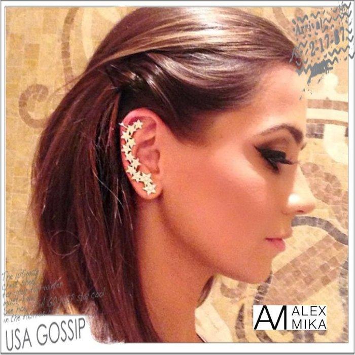 ㊣ 美國八卦小報 ㊣ ALEX MIKA 紐約設計師品牌 超美18K白金流星不對稱耳環