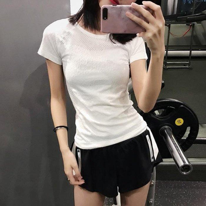 速乾T恤女運動衫短袖緊身顯瘦健身衣瑜伽上衣半袖跑步透氣