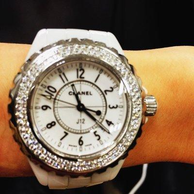 原鑲鑽~~~附件全~~~chanel J12 33MM 白陶瓷 原廠鑲鑽 鑽錶
