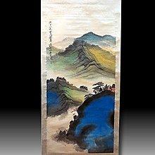 【 金王記拍寶網 】S1997  張大千款 潑彩 山水圖 手繪書畫捲軸一幅 罕見 稀少~