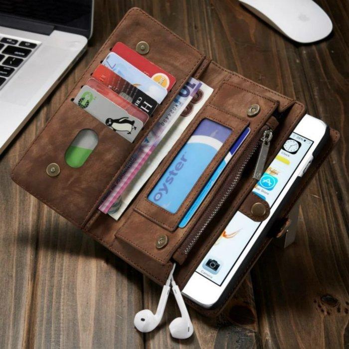 牛皮磁吸錢包式手機殼