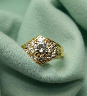 50分黃k金 鑽石戒指