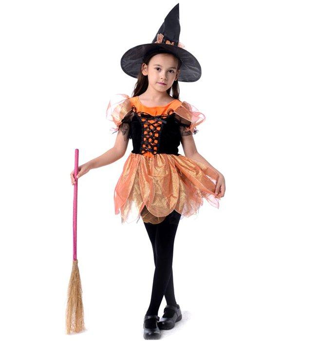 【洋洋小品兒童桔色小魔女裝小孩巫婆裝俏麗女巫】萬聖節服裝聖誕節佈置造型裝扮服聖誕舞會派對洋裝表演舞台巫婆套裝