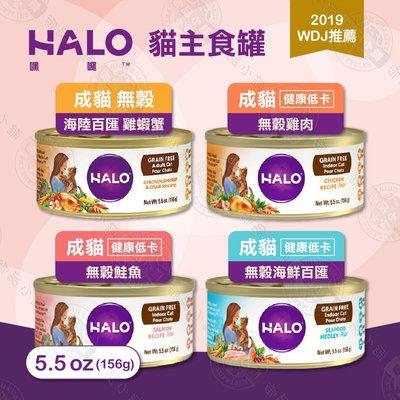 新品 嘿囉 HALO 成貓 主食罐 5.5oz(156g) 低卡 無穀 全鮮肉 貓罐 雞肉 鮭魚 海鮮