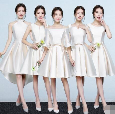 禮服 短款 伴娘服 正韓小禮服 連身裙 顯瘦姐妹裙 洋裝 —莎芭