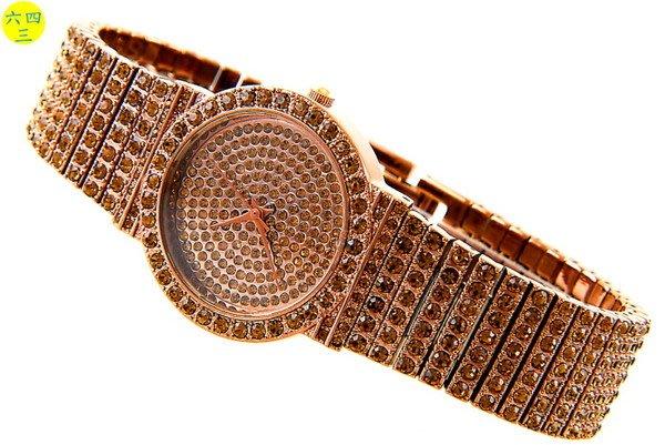 (六四三精品)SKOAL(真品)超美滿天星手錶.面盤.錶框及錶帶撲滿水鑽!18k巧克力金式(男)
