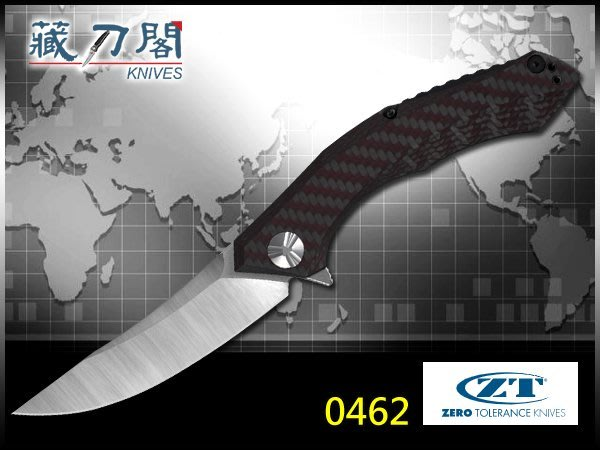 《藏刀閣》ZERO TOLERANCE-(0462)紅色碳纖維+鈦柄折刀(大)