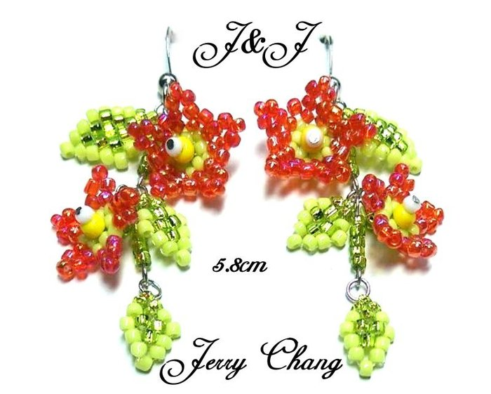 J&J精品~花現甜姐兒~珠寶編織亮麗花葉耳環~紅色款