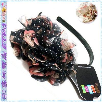 ☆POLLY媽☆歐美BRASH水玉點粉棕蝴蝶結圖案米白色、黑色雪紡紗雙花朵包緞窄版髮箍USD$9.99