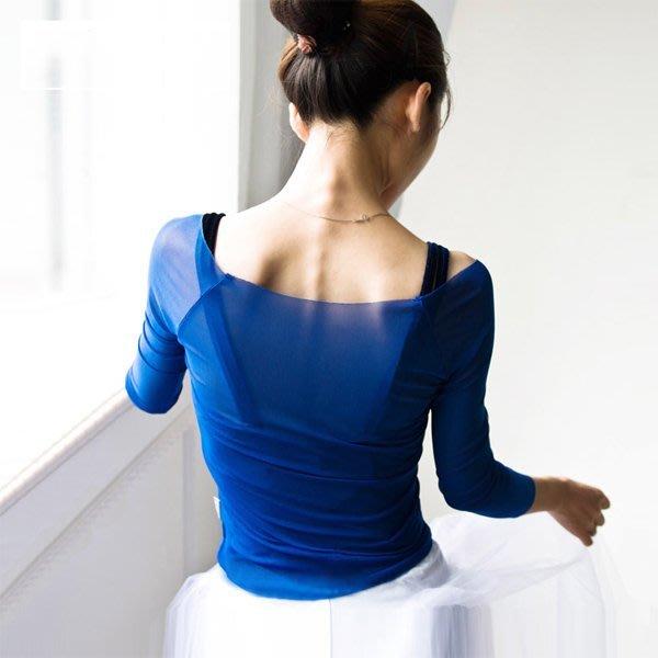 5Cgo【鴿樓】會員有優惠 40989344845  小茉莉舞蹈服女成人芭蕾舞練功服體操服網紗形體服上衣