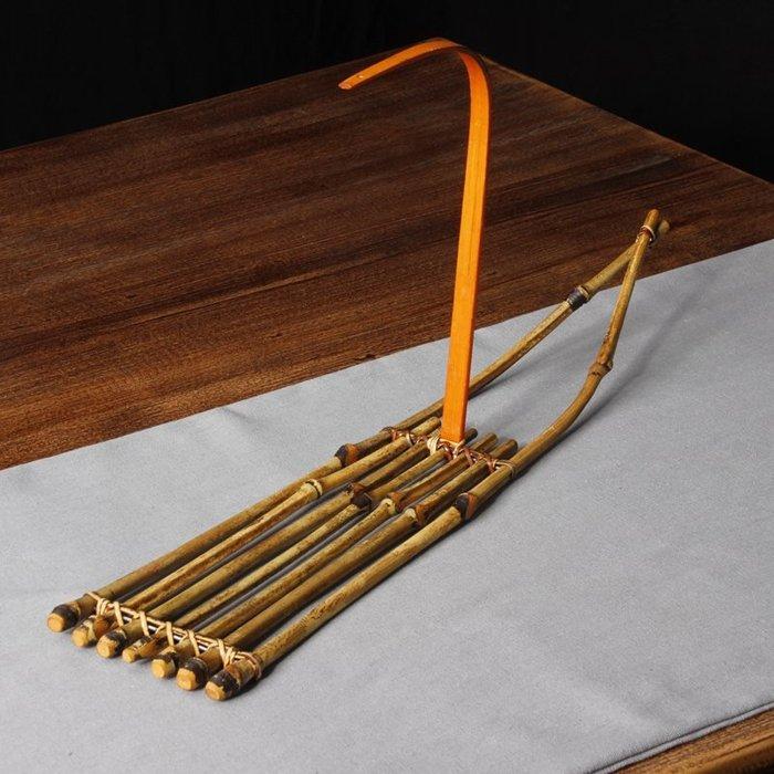 【自在坊】帆船茶具展示台 茶杯架 壺墊 復古竹編造型 擺件造型造景 櫥窗展示 手工創意 【全館滿599免運】