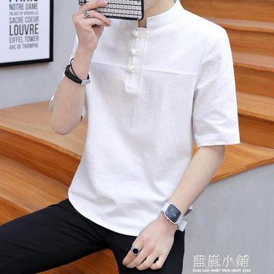 棉麻t恤中國風男裝中式短袖麻料盤扣中袖上衣大碼亞麻T恤夏季寬鬆