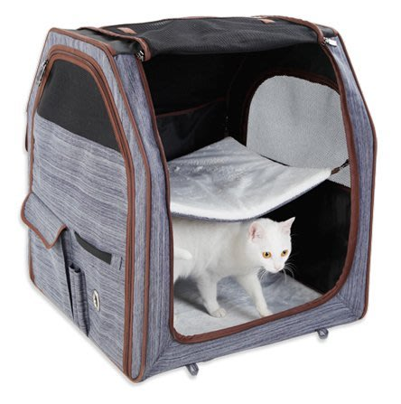 petsfit 新款 寵物貓咪 雙層吊床外出籠 透氣質感口袋 可收納外出提籠 露營外出包[牛仔藍]♥目前預購期約12天