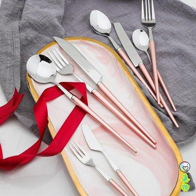 歐式創意彩色不銹鋼西餐刀叉勺家用餐具牛排刀水果叉咖啡甜品勺子