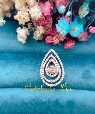 三層水滴鑽石墜子墜飾(鑽石14分+46分=60分)附保卡、禮盒、提袋。